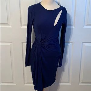 New Halston Heritage Royal Blue Ruched Dress XS